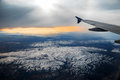 Aerial view from air plane of mountains Royalty Free Stock Photo