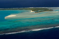 Aerial view of aitutaki lagoon cook islands sep one foot island nude island tekopua island and honeymoon island on sep is the Stock Photos