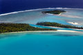Aerial view of aitutaki lagoon cook islands sep one foot island tekopua island and motukitiu island on sep polynesians first Royalty Free Stock Images