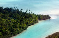 Aerial view of aitutaki lagoon cook islands sep small tropical island in on sep there are three islets and motus mini Stock Photo