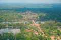 Aerial view of angkor wat temple cambodia southeast asia Royalty Free Stock Photos