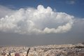 Aerial view athens greece of a city just before a storm Royalty Free Stock Images