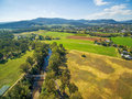 Aerial view of Australian countryside. Ovens River, Myrtleford, Royalty Free Stock Photo