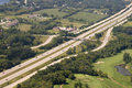 Aerial view auto freeway interstate interchange of an and you can see cars and automobiles on the road Stock Images