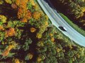 aerial view of autumn highway in forest Royalty Free Stock Photo