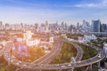 Aerial view, Bangkok city aerial view over highway intersection downtown skyline Royalty Free Stock Photo