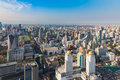 Aerial view, Bangkok city central business downtown Royalty Free Stock Photo