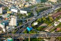 Aerial view of bangkok city roads and traffic thailand Royalty Free Stock Images
