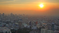 aerial view of Bangkok cityscape at sunset