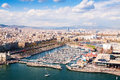 Aerial view of Barcelona city with Port Vell Royalty Free Stock Photo