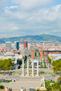 Aerial view of Barcelona from National Palace,September 21 2012 Royalty Free Stock Photo