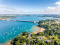Aerial view on Barrage de la Rance in Brittany close to Saint Malo, Tidal energy Royalty Free Stock Photo