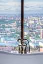 Aerial view from bathroom to city Royalty Free Stock Photography