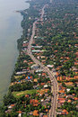 Aerial view beach coastal highway tropical island colombo sri lanka of negombo area depicting the new expressway toll highways Royalty Free Stock Photos
