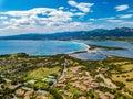 Aerial view of the beach of the due mari, Capo Testa in Sardinia