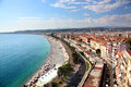 Aerial view of the beach and promenade of Nice a France Royalty Free Stock Photo