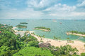 Aerial view of beach in Sentosa island, Singapore Royalty Free Stock Photo