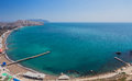 Aerial view on the beach of sudak in crimea ukraine Stock Photography
