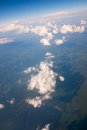 Aerial view with beautiful cloud formation and over the land Stock Photography