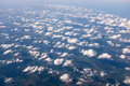 Aerial view with beautiful cloud formation and over the land Royalty Free Stock Images
