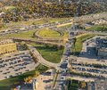 Fall in the City. Aerial View of highway and complex interchange. Colorful autumn foliage in housing developments in the city Royalty Free Stock Photo