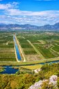 Aerial View Of Beautiful Fertile Neretva Valley Surrounded By Mountains, Garden Of Dubrovnik, Daytime Landscape, Croatia