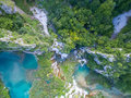 Aerial view of beautiful nature in Plitvice Lakes National Park, Croatia Royalty Free Stock Photo