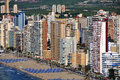 Aerial view of benidorm spain summer resort with beach and famous skyscrapers Stock Image
