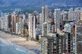 Aerial view of benidorm spain summer resort with beach and famous skyscrapers Royalty Free Stock Images
