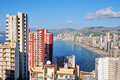 Aerial view of benidorm spain summer resort with beach and famous skyscrapers Royalty Free Stock Photos