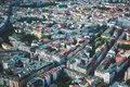 Aerial view of Berlin with skyline and scenery beyond the city, Germany, seen from the observation deck of TV tower Royalty Free Stock Photo
