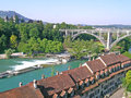 Aerial view of berne residential area bern with aare river Royalty Free Stock Images