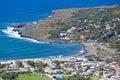 Aerial view black beaches of Vulcano, Aeolian Islands near Sicil