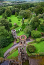 Aerial view of Blarney castle's towers and park Stock Photo