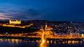 Aerial view of Bratislava, Slovakia at night