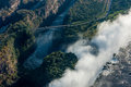 Aerial view of bridge behind Victoria Falls Royalty Free Stock Photo