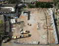 Aerial view of builders plot ready for work Royalty Free Stock Photos