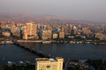 Aerial view of cairo with nile during sunset in egypt in africa Royalty Free Stock Photo
