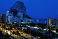 Aerial view of calpe at night mediterranean resort spain with hotel buildings and mountain penon de ifach Royalty Free Stock Photos