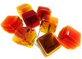Aerial view of caramel lollipops Stock Images