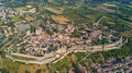 Aerial view of Carcassonne medieval city and fortress castle from above, Sourthern France Royalty Free Stock Photo
