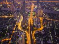 Aerial view of cars on Taksin Bridge in financial district and s Royalty Free Stock Photo