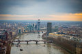 Aerial view of Central London and Thames River Royalty Free Stock Photo
