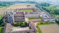 Aerial view of the Certosa di Pavia,  the monastery and shrine in the province of Pavia, Lombardia, Italy Royalty Free Stock Photo