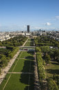 Aerial view on champ de mars from the eiffel tower paris france Royalty Free Stock Photos