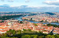Aerial view of Charles Bridge over Vltava river and Old city fro Royalty Free Stock Photo