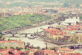Aerial view of Charles Bridge over Vltava river and Old city. Pr Royalty Free Stock Photo
