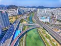 Aerial View of Cherry Blossoms Blooming in Suyeonggang River , Busan, Korea Royalty Free Stock Photo