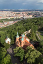 Aerial view of a church at the Petrin Hill in Prague Royalty Free Stock Photo