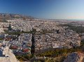 Aerial view of the city of athens greece skyline taken from likabetus hill Royalty Free Stock Image